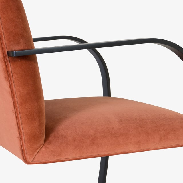 Brno Flat-Bar Chairs in Rust Velvet, Obsidian Matte Frame - Set of 6 For Sale In New York - Image 6 of 11