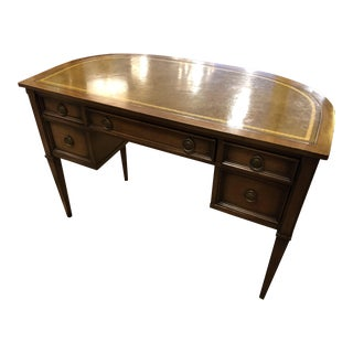 1960s Mid Century Modern Leather Top Tanker Desk For Sale