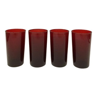 Antique Ruby Red Signed Anchor Hocking Glasses - Set of 4 For Sale