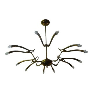 Large Mid-Century Italian Polished Brass Chandelier Attributed to Oscar Torlasco For Sale