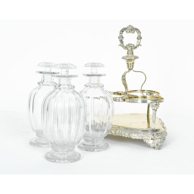Late 19th Century Old English Sheffield Silver Plated Decanter Bottles & Caddy - Set of 4 For Sale - Image 5 of 5