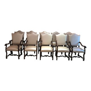 Italian Leather Dining Chairs- Set of 10 For Sale