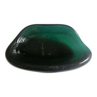 Vintage Glass Ashtray Green Organic Blenko Tray For Sale
