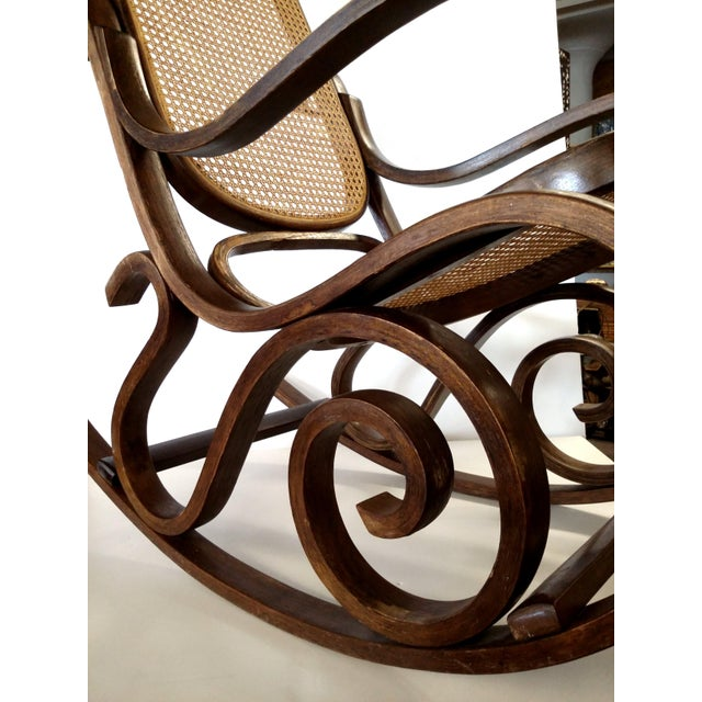 Thonet-Style Cane & Bentwood Rocker For Sale In Boston - Image 6 of 10