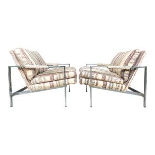 Milo Baughman Thayer Coggin Chrome Lounge Chairs - A Pair