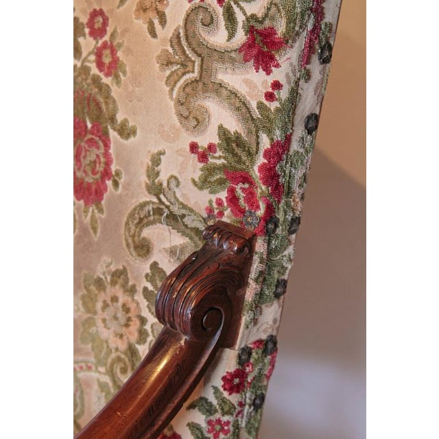 French Pair of Antique Louis XIV Style Walnut Wood Armchairs from France For Sale - Image 3 of 8
