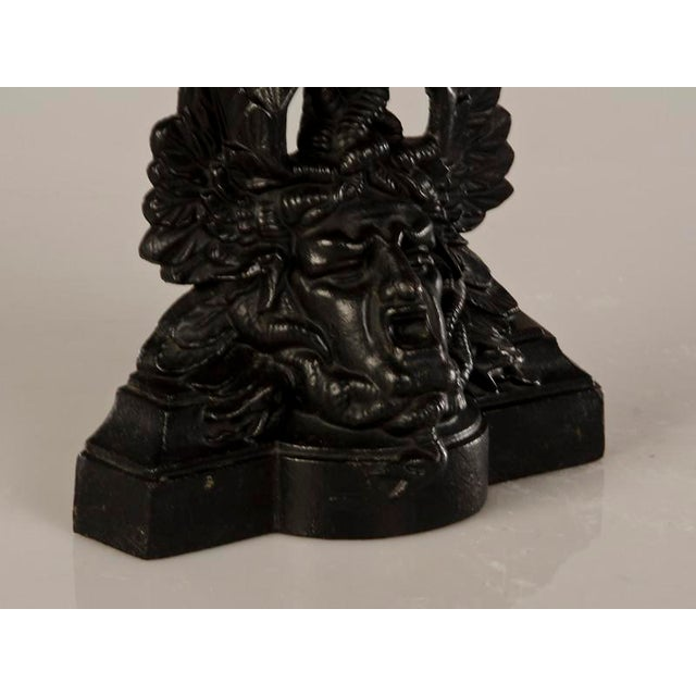 Cast Iron Pair of Extraordinary Cast Iron Door Stops with an Entire Portrait Bust of Medusa from Italy c.1870 For Sale - Image 7 of 7