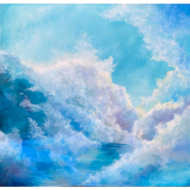 """Christine Elise """"The Meaning of a Day"""" Contemporary Sky and Clouds Oil Painting For Sale In New York - Image 6 of 6"""