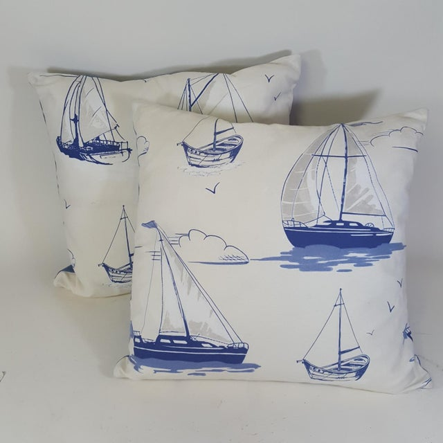Blue Sailboat Accent Pillows - a Pair For Sale - Image 9 of 9