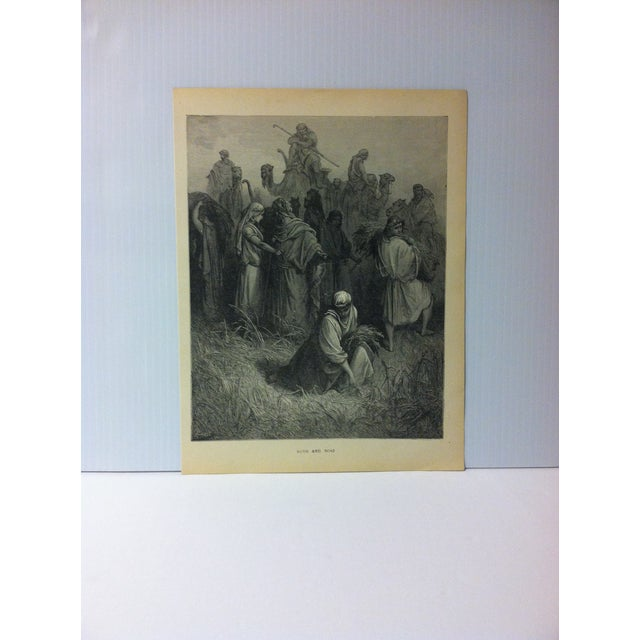 "Antique Gustave Dore Illustrated Print on Paper, ""Ruth and Boaz"", 1901 For Sale - Image 4 of 4"