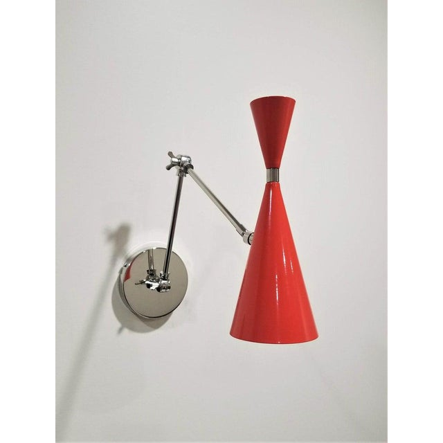 Not Yet Made - Made To Order Monolith Reading Lamp in Red Orange and Polished Nickel Sconce For Sale - Image 5 of 6