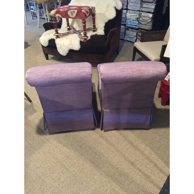 Boho Chic 1980s Vintage Heritage Plum Color Linen Slipper Chairs- A Pair For Sale - Image 3 of 12