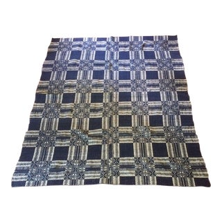 Antique Blue and White Hand Loomed Wool Coverlet Blanket With Woven Geometric Square Pattern For Sale