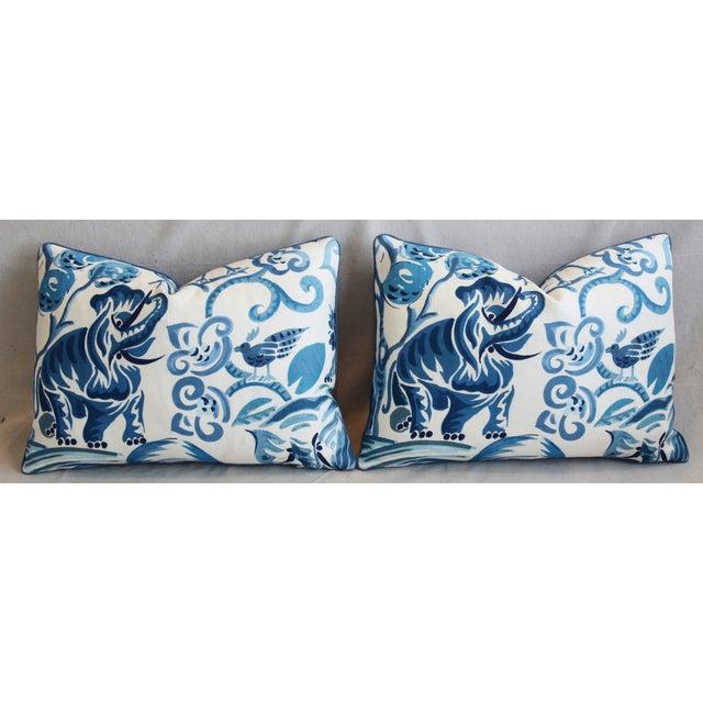"Cotton P. Kaufmann Blue & White Animal Feather/Down Pillows 22"" X 16"" - Pair For Sale - Image 7 of 13"