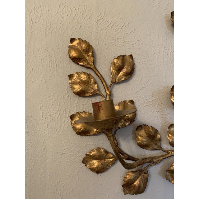 1950s Italian Carved Vasiform & Leafy Branch Wall Sconce For Sale - Image 4 of 13