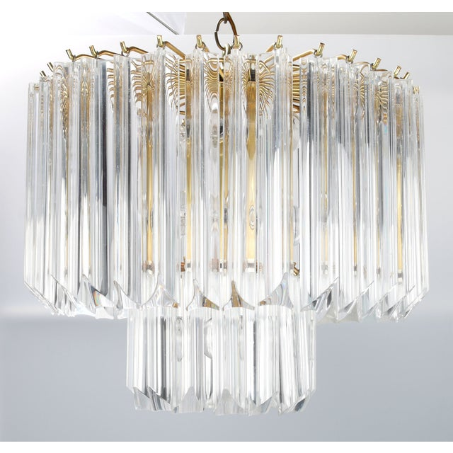 Round Brass & Lucite 11-Light Chandelier - Image 4 of 11