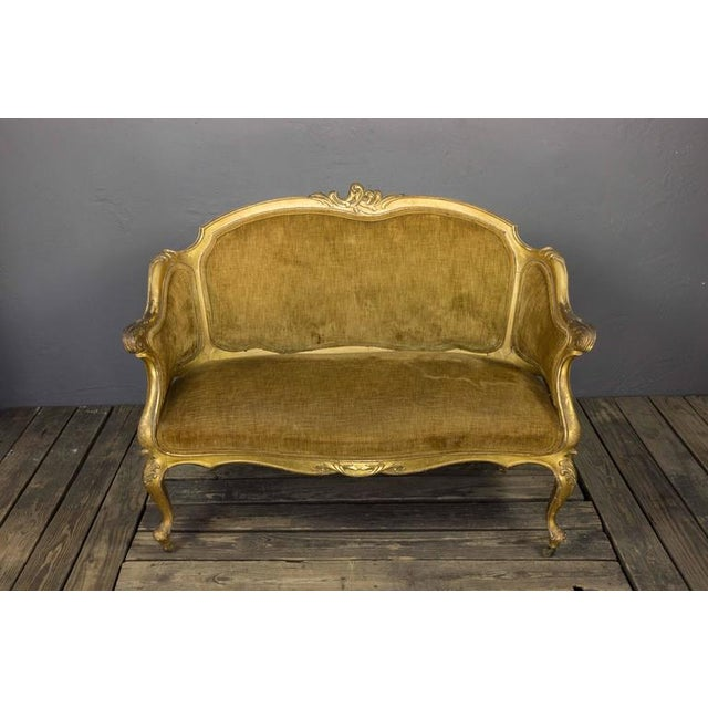 French 19th Century Rococo Revival Giltwood Settee - Image 9 of 10