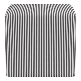 Cube Ottoman in Black Ticking Stripe For Sale