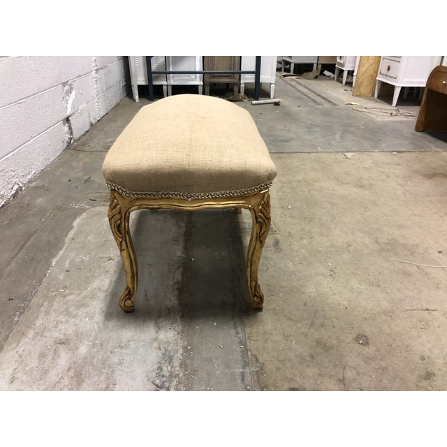 Country Vintage Ornate Louis XV Giltwood Curved Top Ottoman For Sale - Image 3 of 5