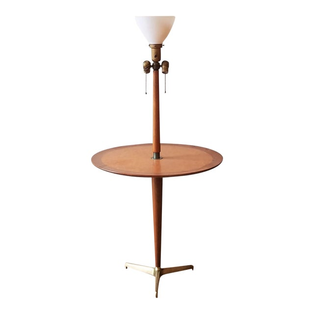 Rewired 1940s Edward Wormley Snack Table/Floor Lamp for Dunbar For Sale