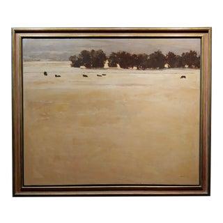Andrew Skorut Pasture Landscape - Oil Painting on Canvas For Sale