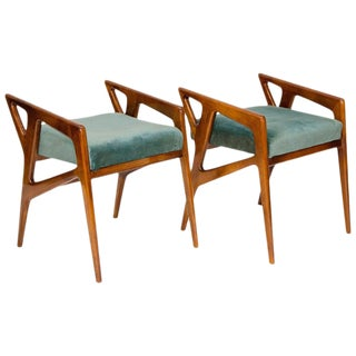 Vintage Gio Ponti Arm Stools- A pair For Sale