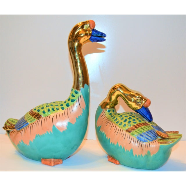 Light Green (Final Markdown) Vintage Japanese Porcelain Kutani Geese - a Pair For Sale - Image 8 of 10