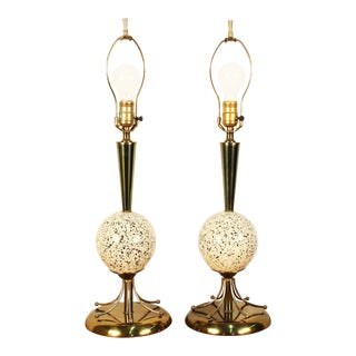 Atomic Age Brass Ceramic Table Lamps - A Pair For Sale