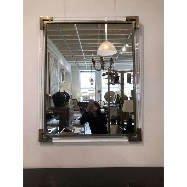 Hollywood Regency Mid-Century Modern Lucite and Brass Wall Mirror For Sale - Image 3 of 4
