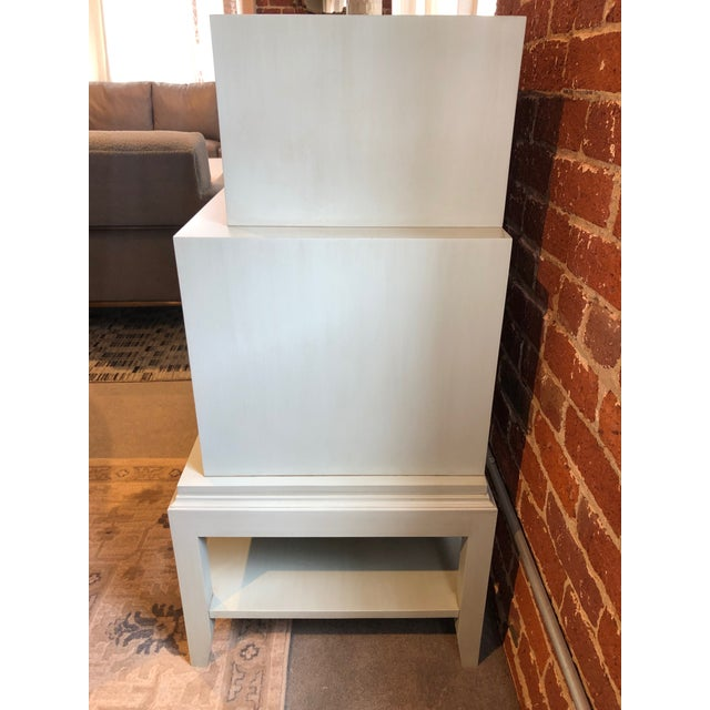 Traditional Light Blue Tiered 4 Drawer Dresser For Sale - Image 3 of 7