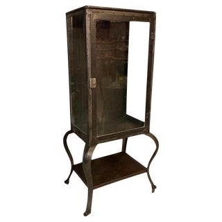 Antique Industrial Brushed Steel Apothecary Display Cabinet For Sale