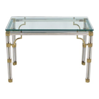 Mid-Century Modern Chrome Glass and Brass Heavy Console Sofa Table For Sale