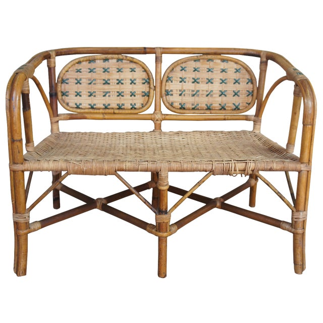 Antique Child's Rattan Cained Bamboo Settee For Sale