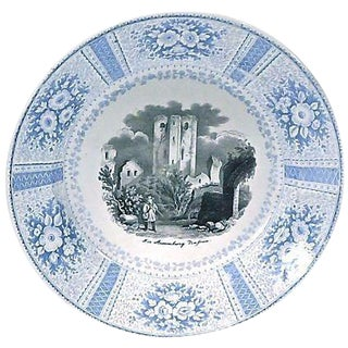 Vintage English Transferware Castle Scene Plate For Sale