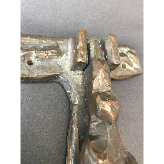 Cast Abstract Sculptural Bronze Door Knocker For Sale - Image 4 of 10