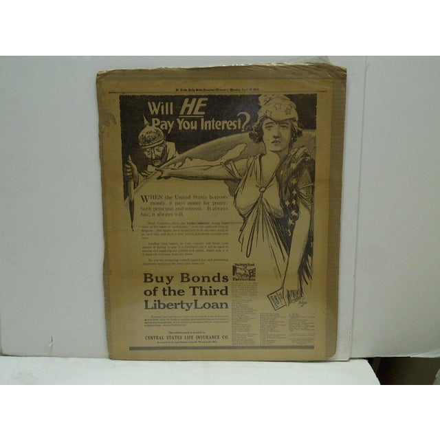 "This is a Vintage -- Newspaper World War I -- War Bond Advertisement Poster -- ""Buy Bonds Of The Third Liberty Loan"" --..."