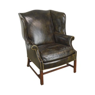 Chippendale Style Dark Green Leather Mahogany Wing Chair For Sale