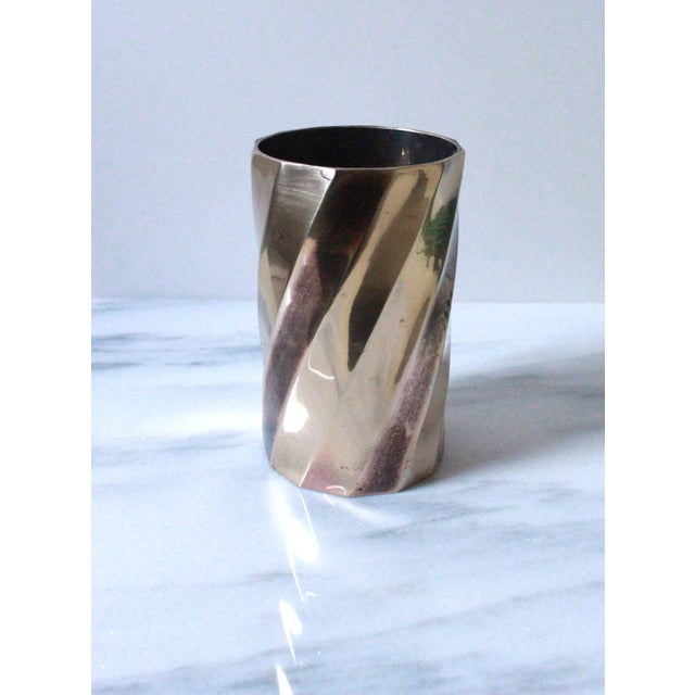 Solid Brass Cylinder Vase With Twist Design - Image 2 of 5