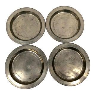 Vintage Pewter Rimmed Salad Plates - Set of 4 For Sale