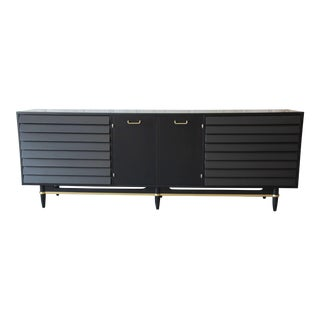 Merton Gershun for American of Martinsville Louvered Front Ebonized Triple Dresser or Credenza For Sale