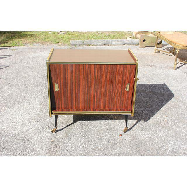 1940s Vintage Macassar French Art Deco Swivel Bar Cabinet For Sale - Image 10 of 13