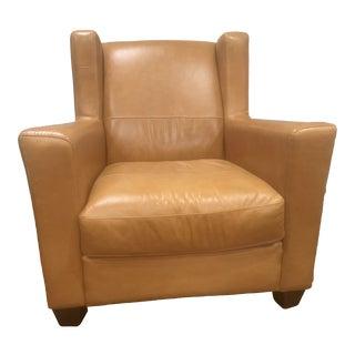 Cognac Italian Leather Chair For Sale
