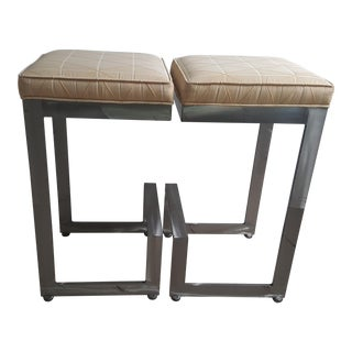 Contemporary Johnston Casuals 4 Score Bar Stools- A Pair For Sale