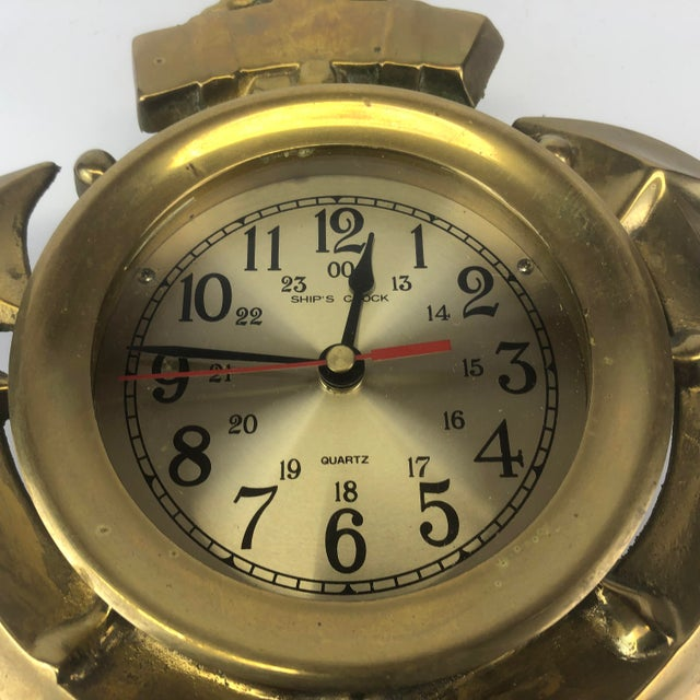 Brass Vintage Brass Anchor Wall Clock For Sale - Image 8 of 11