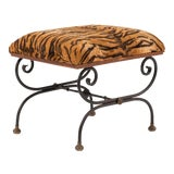 Image of Vintage French Directoire Style Iron and Brass Cross Leg Bench For Sale