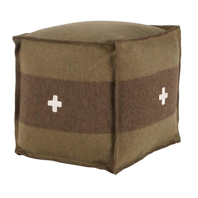 """Cabin Swiss Army Pouf, 18""""X18""""X18"""", Green/Brown For Sale - Image 3 of 3"""