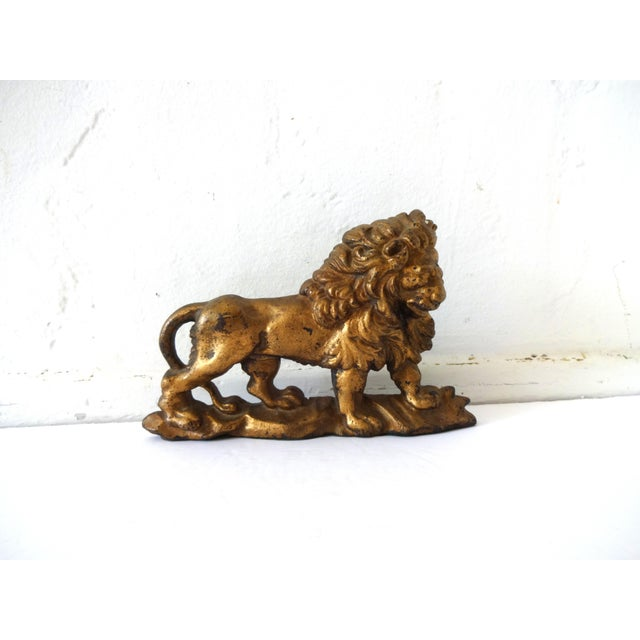 English Antique Gilt-Painted Cast-Iron Lion Doorstop For Sale - Image 3 of 8