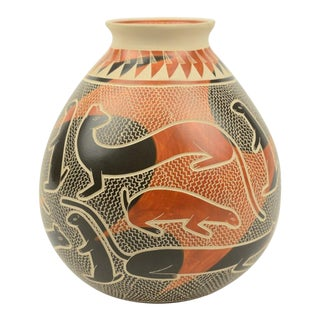 Polychromed Orange & Black Vase