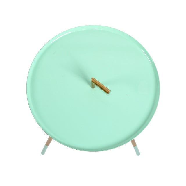 Metal Mid-Century Modern Round Three-Legged Brass & Turquoise Enamel Side Table 1950s For Sale - Image 7 of 13