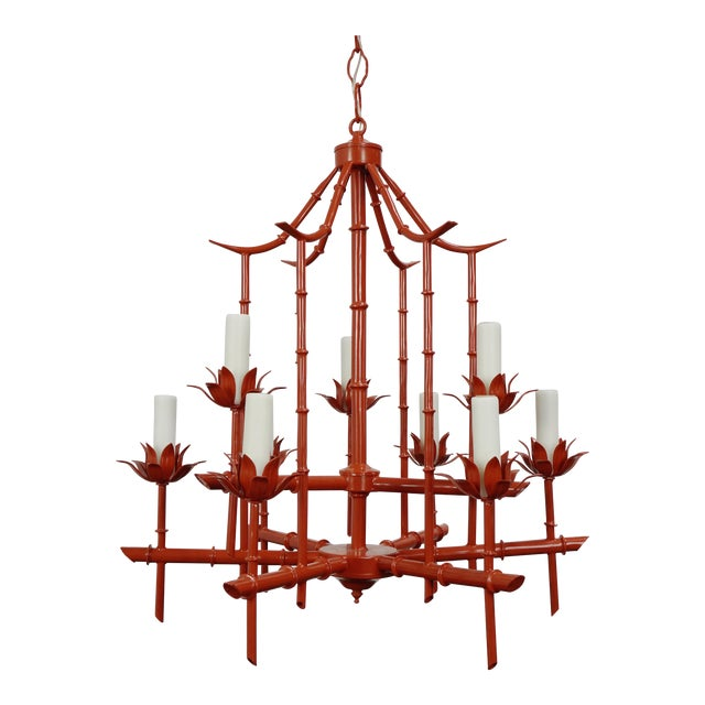 Faux Bamboo Pagoda Chandelier - Image 1 of 7